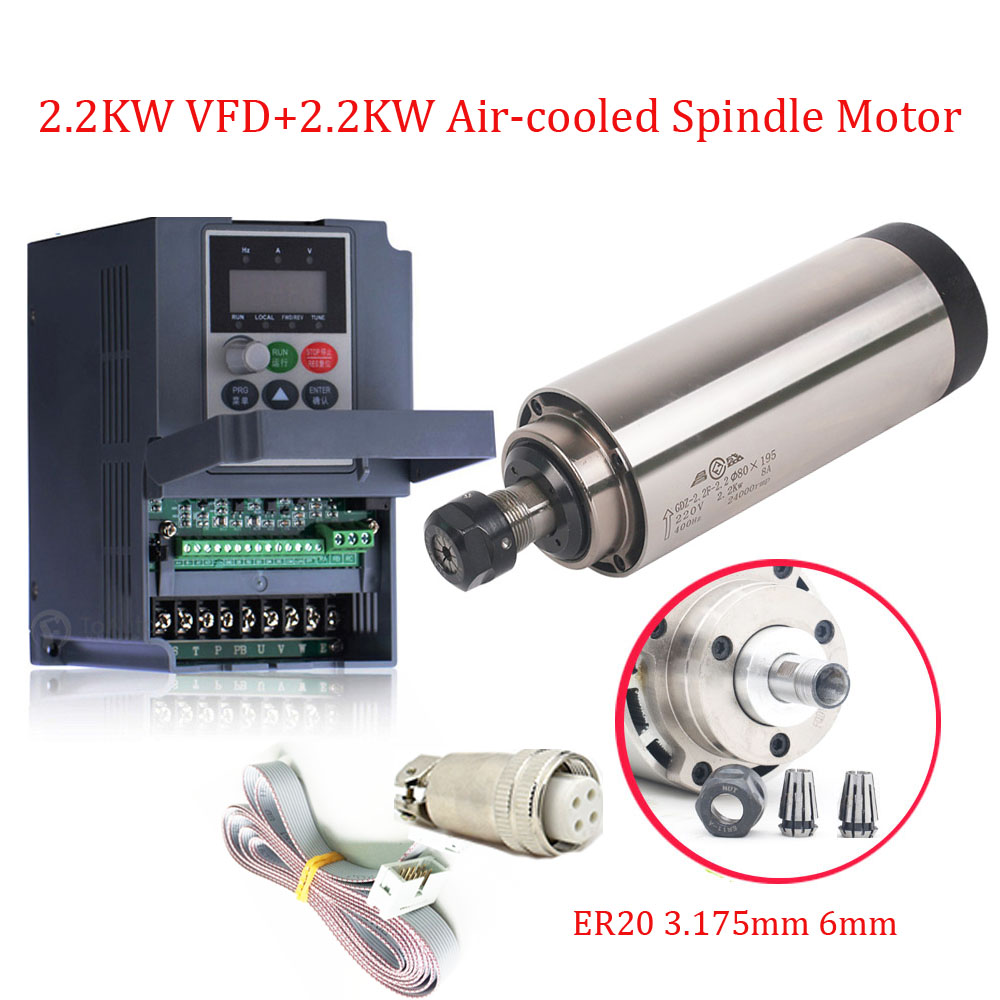 <font><b>2.2KW</b></font> <font><b>Air</b></font> <font><b>Cooled</b></font> <font><b>Spindle</b></font> Kit CNC <font><b>Spindle</b></font> Motor ER20 8A 4Bearings 80*195mm & <font><b>2.2kw</b></font> VFD Inverter & 2pcs 3.175mm+ 6mm Collets image