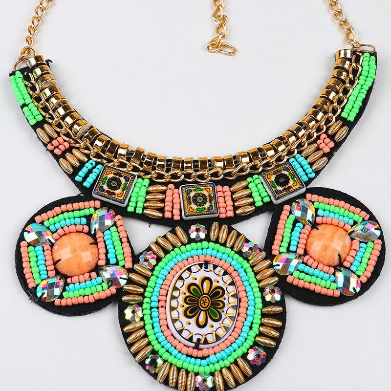 Aliexpress.com Comprar Perla bordado hechos a mano patrón étnico Collar de  abalorios Collar de gran declaración de joyería africana perlas Collar  Collier