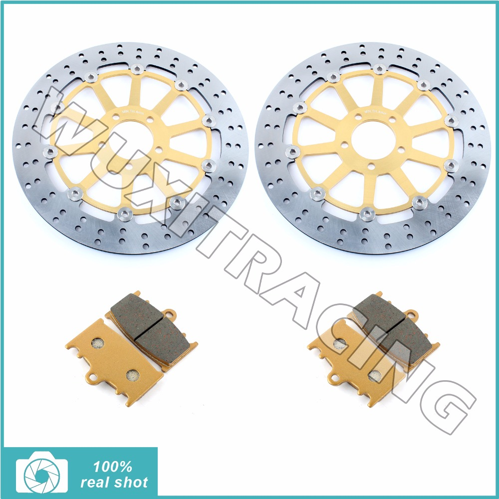 Pair Front Brake Discs Rotors Pads for KAWASAKI ZX9 R ZX9R ZX900 94 95 ZZR1100 ZX 1100 93-01 96 97 98 99 00 ZZR 1100 1200 02-04 94 95 96 97 98 99 00 01 02 03 04 05 06 new 300mm front 280mm rear brake discs disks rotor fit for kawasaki gtr 1000 zg1000