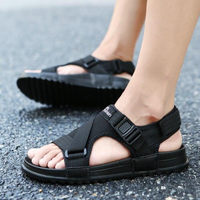 Sandals Men shoes 2018 Gladiator Men's Sandals Roman Men Shoes Summer Flip Flops Gray Black Flat Sandals Large Size 45 46