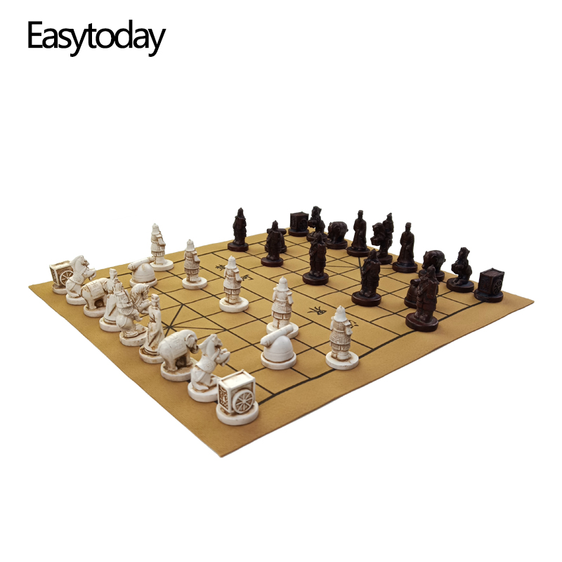 Easytoday Chinese Chess Games Set High quality Synthetic Leather Chessboard Traditional Retro Chinese Table Entertainment Games