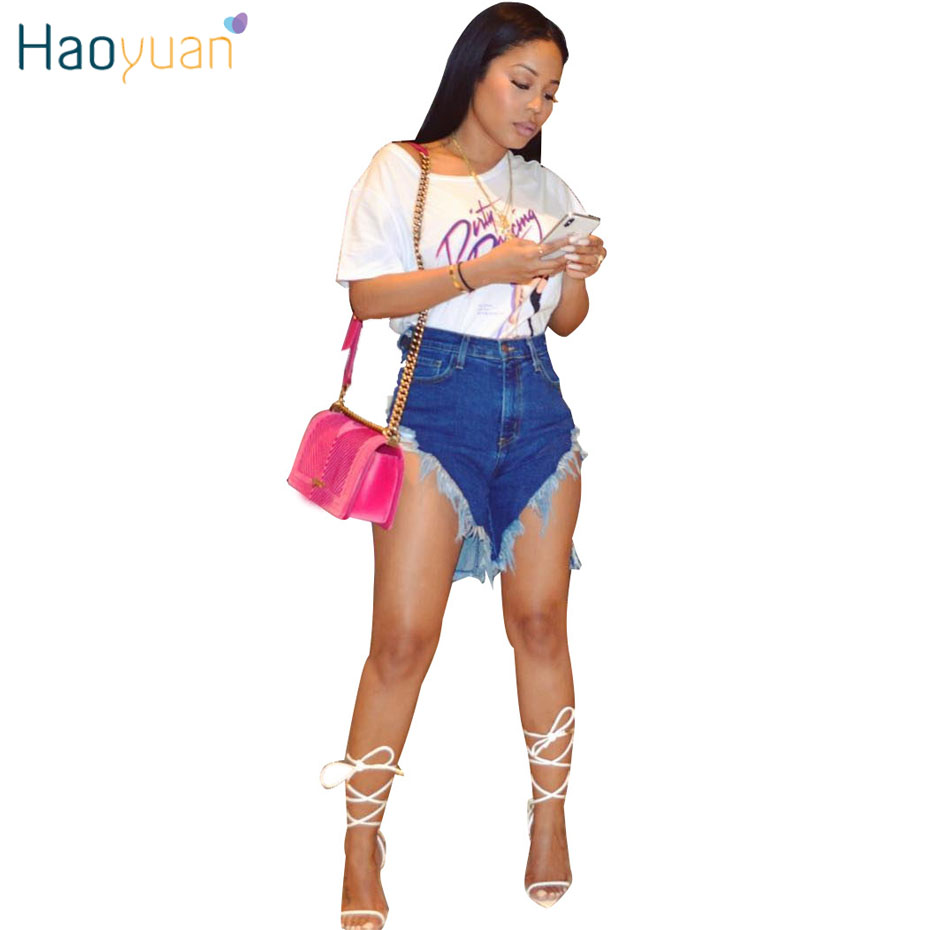 HAOYUAN Plus Size Hole Tassel Casual Denim Shorts Rave Streetwear Sexy High Waist Stretch Jean Shorts Women Summer Biker Shorts