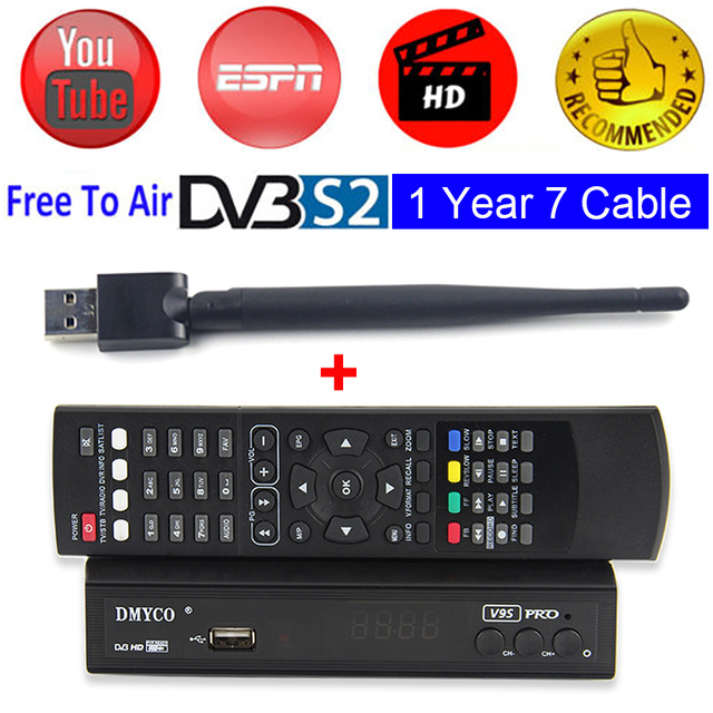 US $43 99 30% OFF|DVB S2 TV Satellite Receiver HD V9S PRO Decoder Support  Biss Key Youporn lNB FTA Digital Receptor +1 Year Spain 7 Cable Channels-in