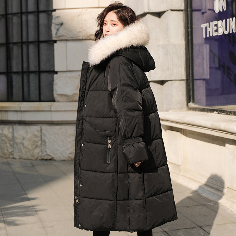 Korean Style 2019 Winter Jacket Women Cotton Padded   Down     Coat   Long Hooded With Fur Female Parka Outwear