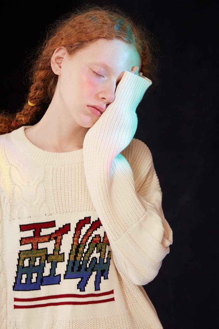 2018 Winter Neue Ursprüngliche Design Frauen Vintage Pullover Lose Beiläufige Physikalische Jacquard Weibliche Dicke Strickwaren Pullover Strickoberteile