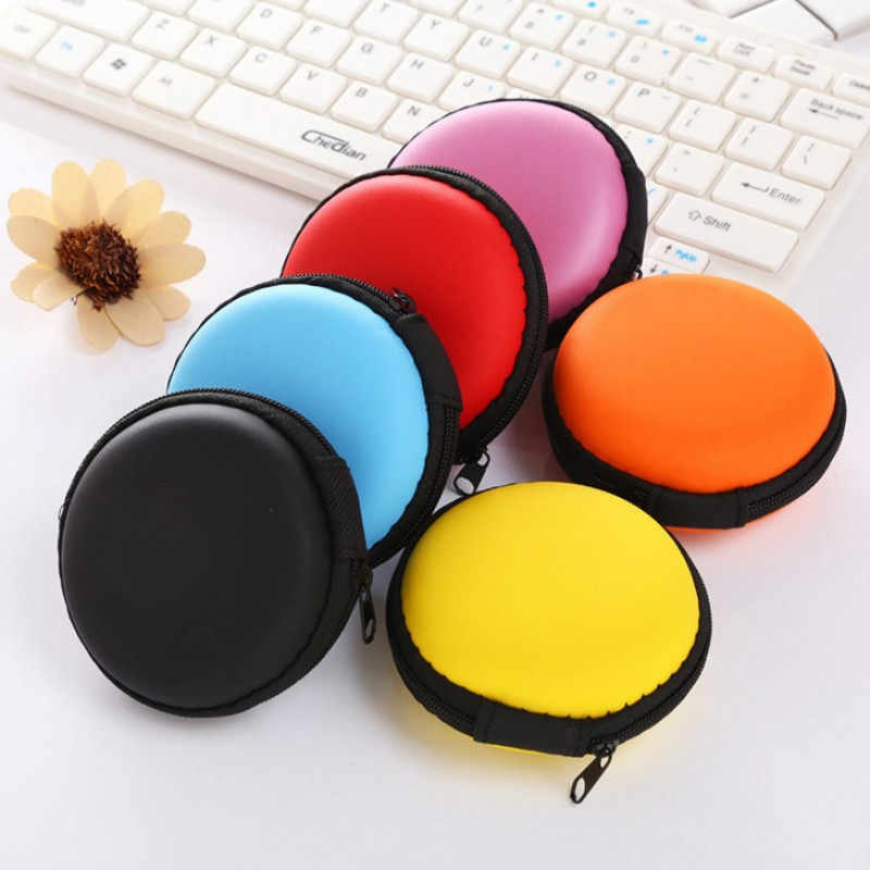 Round Portable Earbuds Box Mini Zipper Hard Headphone Case PU Leather Earphone Case Storage Bag Protective USB Cable Organizer