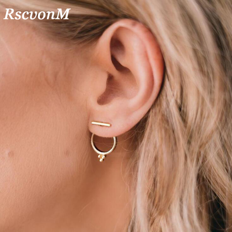 RscvonM New Fashion Jewelry Gold Color Big Hoop Earrings Exquisite Round Circle Earrings Women Hot Sale Korean Style Wholesale 2018 new korean style street shoot wooden printed round earrings