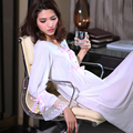 Spring and summer thin fashion 100% cotton long-sleeve royal princess nightgown white lace decoration full dress sleepwear