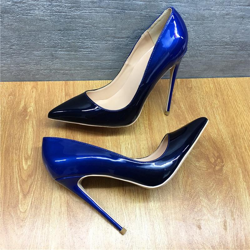Cm Taiwan Marke Schwarz Landebahn Party 12 Sexy Fein T Schuhe Blau Heels High 12cm Farbverlauf Und Mode Mit RrrS0