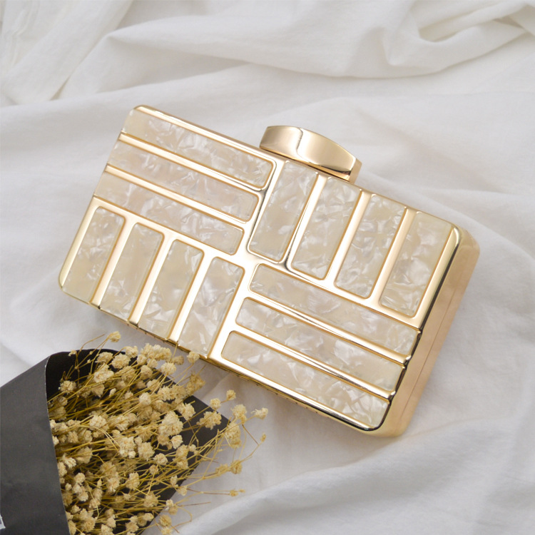 New evening clutch bags shell pattern acrylic womens clutch bags and purses envelope clutch purse hardware women bag hard box
