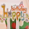 30 Unids/set Amor de Dibujos Animados de Animales Imprimir Feliz Birtyday primeros de La Torta Envolturas de La Magdalena Decoraciones de Fiesta de Cumpleaños