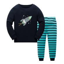 Розничная, детский пижамный комплект из хлопка, детская одежда для сна ночная рубашка с мультяшным принтом для мальчиков и девочек детские пижамы, От 3 до 8 лет