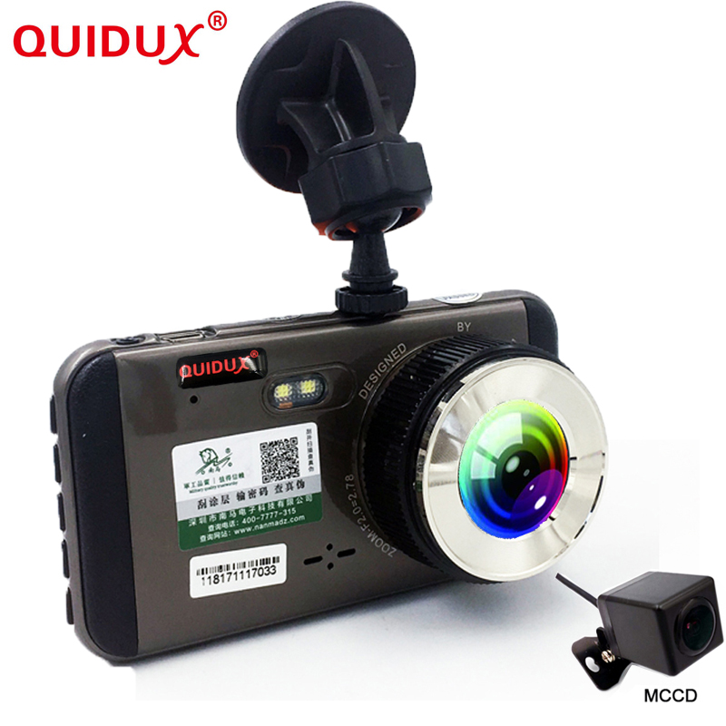 Quidux 2018 Новый 4,0 ''Видеорегистраторы для автомобилей Камера Full HD 1296 P LDWS/FCWS Двойной объектив dashcam видео рекордер CCD ночного видения регистратор ...