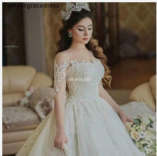 Gorgeous Princess Wedding Dresses Latest Saudi Arabia Dubai Long Sleeves Country Garden Formal Bride Bridal Gowns Plus Size