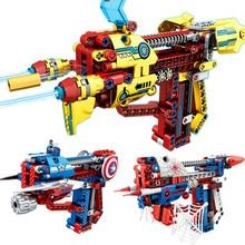 цена на Super Hero Series Toys Gun Children Educational Small Particles Assembled Can Launch Diy Building Blocks Compatible Legoing I19