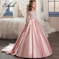 Eslieb Dantel Çiçek Kız Elbise Düğün 2017 Pembe Çocuklar Akşam Elbise Kutsal Communion elbise Kız Pageant Önlükler