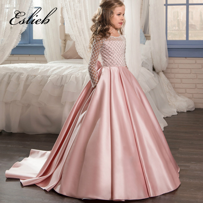 цена Eslieb Lace Flower Girl Dresses for Weddings 2017 Pink Kids Evening Dress Holy Communion Dresses For Girls Pageant Gowns