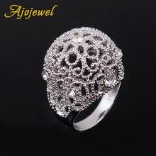 Ajojewel estilo europeo de diamantes de imitación de mujer anillos de diseño de flor hueco grande anillo femenino declaración joyería Envío Directo