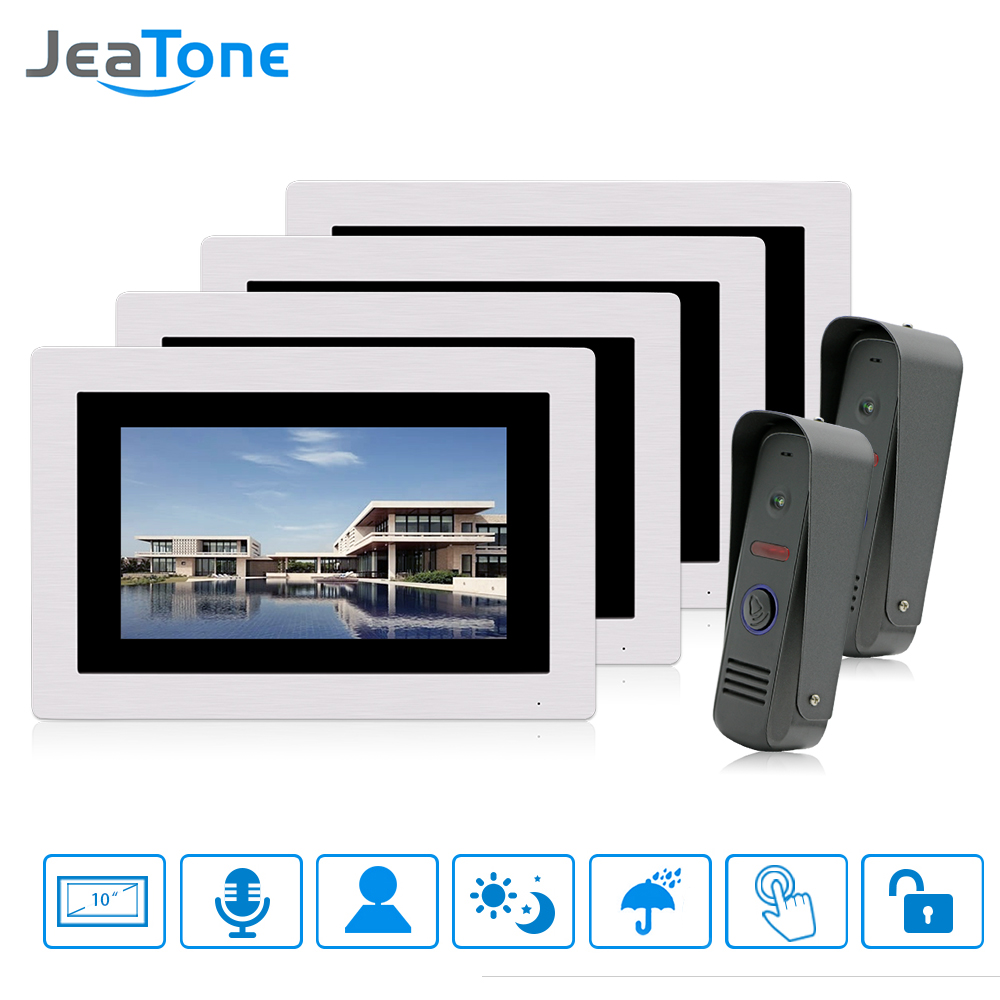 JeaTone 7 LCD Touch Screen Monitor Wired Video Intercom Doorbell 2 Camera 4 Monitor Unlocking Dual-way Door Intercom ultra thin 7 touch screen lcd wince 6 0 gps navigator w fm internal 4gb america map light blue