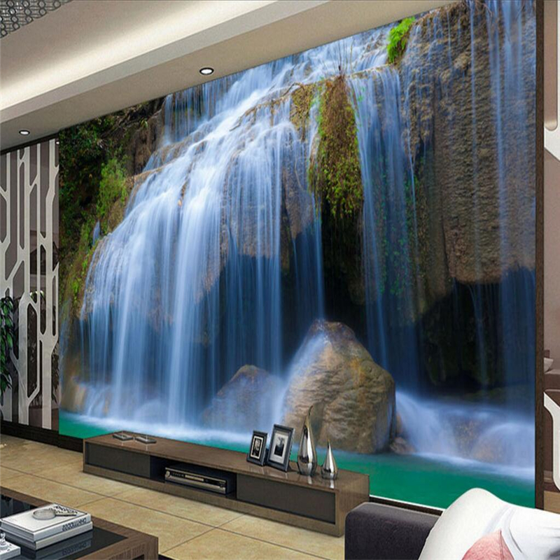 beibehang Wallpaper Mural Wallpaper Landscape Waterfall Waterfront TV Wall Background Wall papel de parede wallpaper for wall image