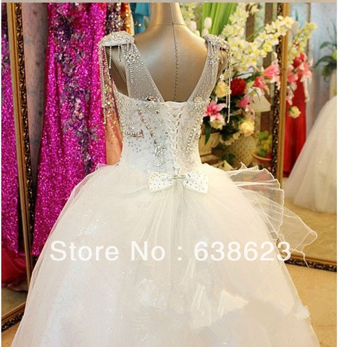 AWL017 Real Sample Royalty V Neck Ball Gown Corset Trainless Organza Crystal Beaded Wedding Dress In Dresses From Weddings Events On