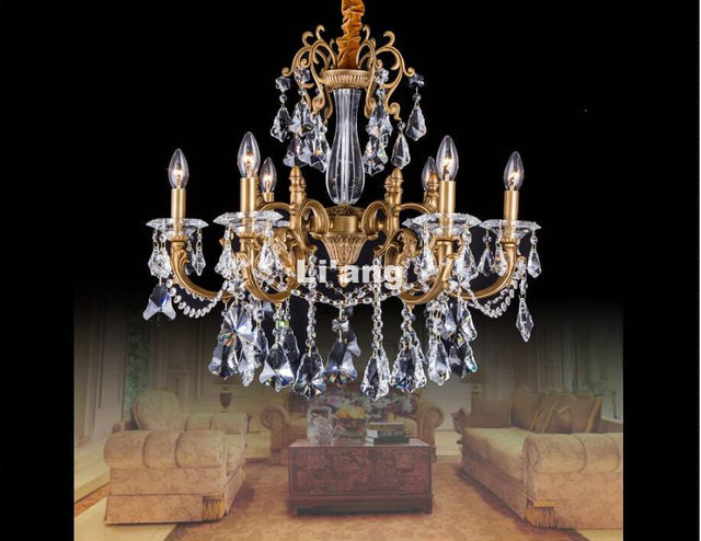 Online shop 8l d83cm european bronze chandelier antique brass 8l d83cm european bronze chandelier antique brass crystal chandelier lamp crystal lustre light fixture villa cristal lighting aloadofball Gallery