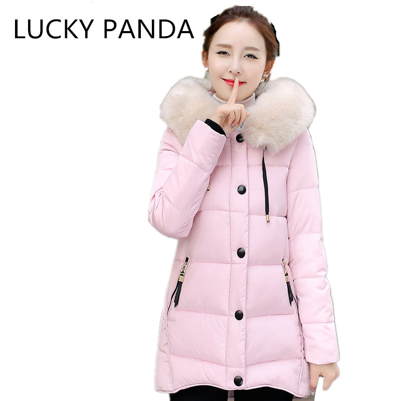 LUCKY PANDA  2016 WOMAN autumn and winter coat in the long thin slim temperament size hooded down cotton coat LKB180 the woman in the photo