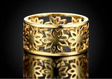 Beautiful pretty cute fashion Wedding Party yellow flower gold color NICE women crystal Lady Ring jewelry