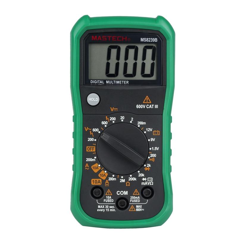 MASTECH MS8239B Digital Multimeter DMM Ammeter Voltmeter Ohmmeter w/ Battery Test Tester Meter