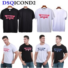 DSQICOND2 DSQ2 Brand New Casual T-shirts DSQ Printed Tops male Female Summer Casual Cotton Short Sleeve Tees Loose Couple Tops zogaa tie dyed midriff baring women t shirts loose fit casual tops brand cloth summer new shorts sleeve casual female t shirts
