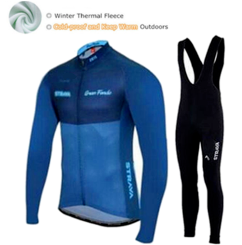 STRAVA Pro team Winter thermal Fleece Cycling jersey set abbigliamento ciclismo invernale bicycle clothing MTB bike