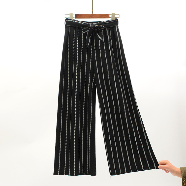 2019 Women Pants Summer New Striped High Waist Loose Pants Striped Straight Nine Pants Women 5