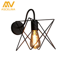 Wall Lamp American country wall lights vintage metal pomelo cage lampshade Indoor lighting Bar restaurant ASCELINA