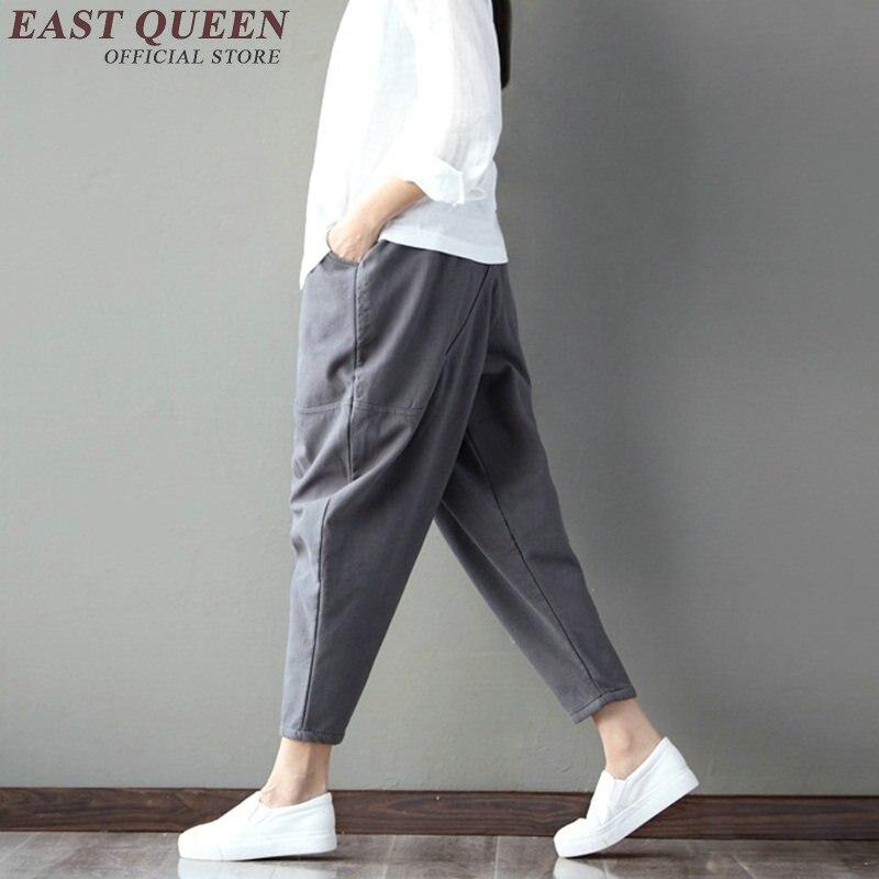 New autumn baggy pants women solid linen trousers women hip hop patchwork harem pants elastic waist pencil trouses KK1035 HQ 4