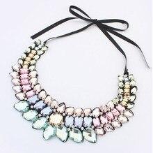 Kpop – collier court en cristal pour femme, faux collier avec nœud coulissant, vente en gros