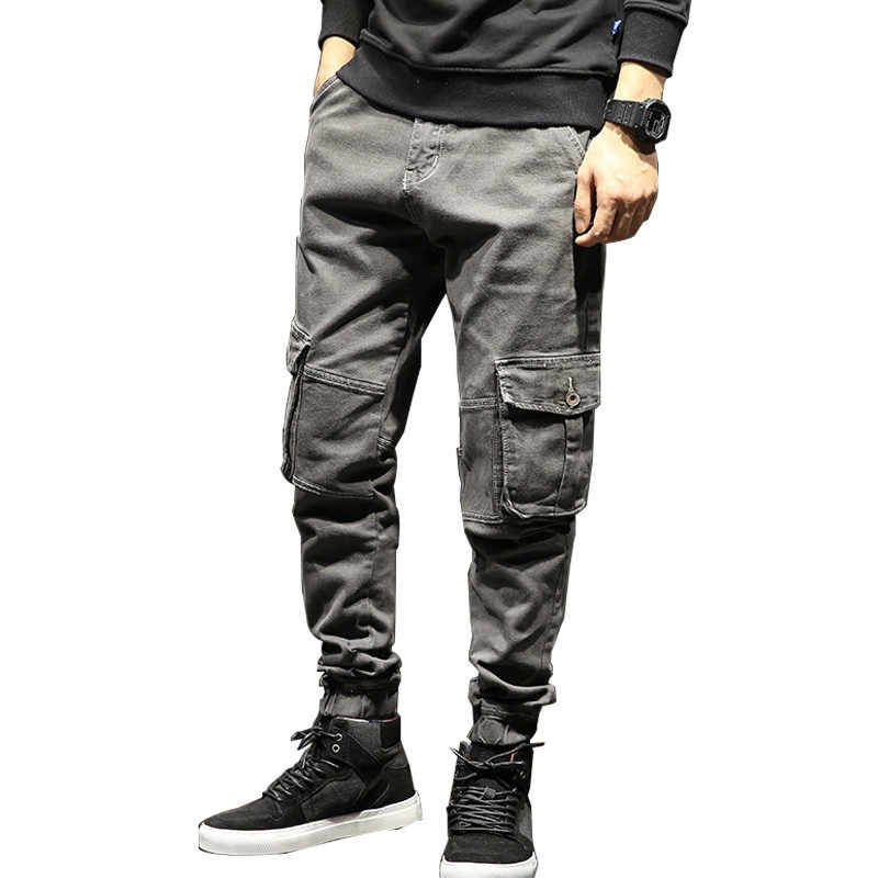 7d78b4c613c MORUANCLE Men Baggy Cargo Jeans Pants With Multi Big Pockets Hip Hop Harem Denim  Trousers Joggers