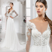 Casual Beach Wedding Dress With Sleeves Lace Up V Neck A Line Wedding Gowns Bride Dresses
