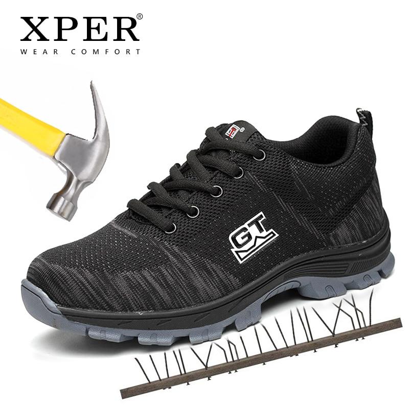 Nouvelle mode chaussures de travail hommes baskets marque chaussures de sécurité en acier orteil en plein air antidérapant Anti-crevaison chaussures # XP036