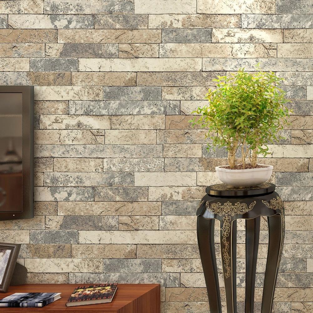 Stacked Brick 3d Stone Wallpaper Modern Wallcovering Pvc Roll  -> Spot De Parede Para Sala