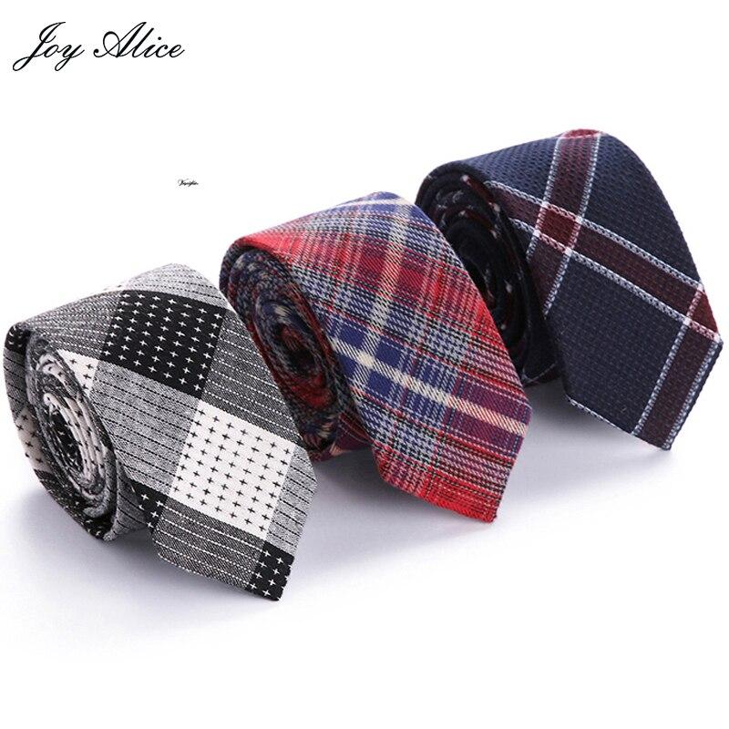 New Mens Fashion Diamond Check Artificial 100%Cotton Striped Skinny Ties Men business Small Ties Designer Cravat Brand slim tie