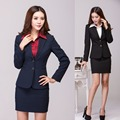 Autumn Winter Formal Office Uniform Designs Women Suits with Skirt and Blazer Sets Work Wear Elegant Beauty Salon Uniforms