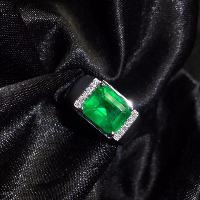 AIGS Fine Jewelry 18K White Gold Real Natural Vivid Green 3.27ct Emerald Gemstones Male Rings for Men's Fine Ring