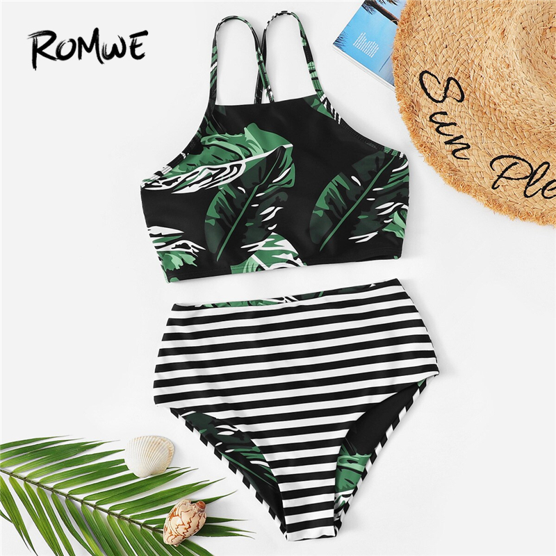 Romwe Bikini-Set Swimsuit Women Two-Piece Bottoms Sexy High-Waist Sport Striped Summer