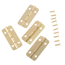 4Pcs 37x17mm Gold Furniture Door Hinges for Box Jewelry Chest Gift Wine Wooden Box Case Dollhouse Cabinet Door Hinge with screws