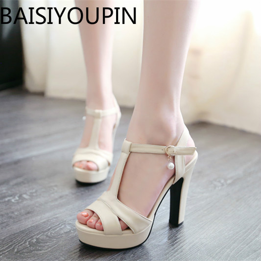 Small Code 31 32 33 Super High Heels Sandals Female Shoes Summer Thick Fish Mouth Paltform T-type Buckle Shoes Big Size 41 43 цена