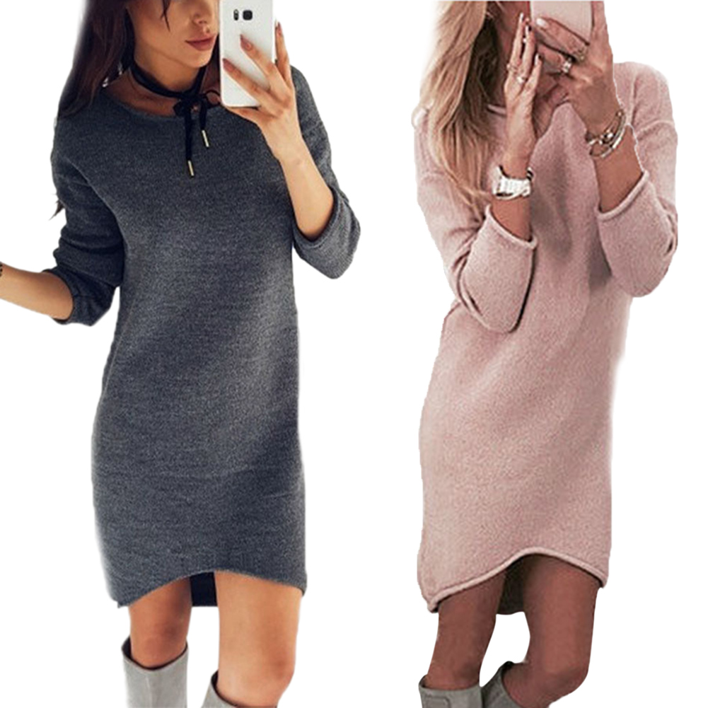 Autumn Winter Women Dress O Neck Long Sleeve Solid Color Ladies Loose Casual Dresses -MX8