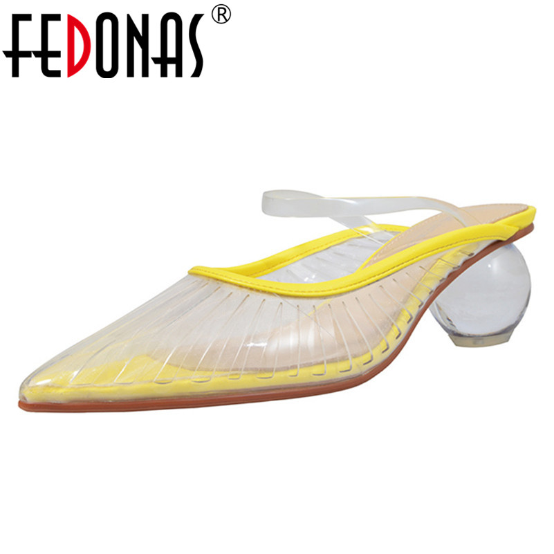 FEDONAS 2019 Summer New Pointed Toe Mules Women Pumps Fashion Sweet Summer Sandals Single Shoes Woman