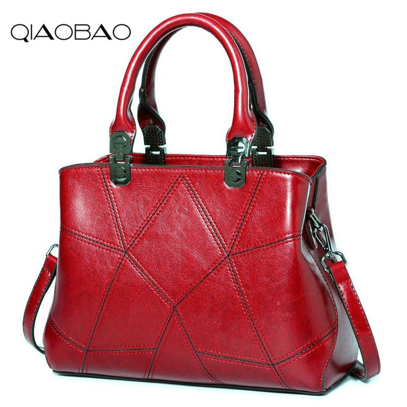 QIAOBAO Fashion patchwork designer 100% Genuine Leather bags women handbag brand high quality ladies shoulder bags women Totes qiaobao 2018 new korean fashion leather handbag trend of women s shoulder bag diagonal cross flow totes