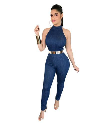 b9324c7dac1e Blue Denim Jumpsuit Romper Women Sleeveless Back Zipper Sexy Bodycon Jumpsuits  Long Pant Jeans Jumpsuits Overalls DW607