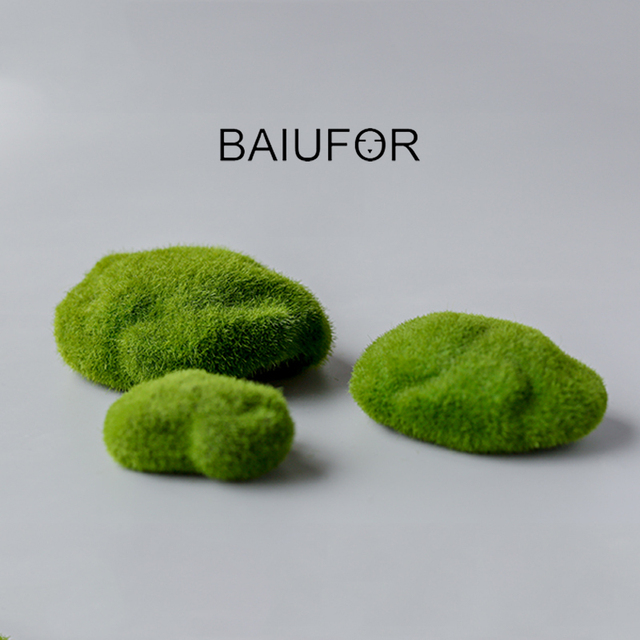 BAIUFOR Flocking Moss Stone Foam Rock Model Fairy Garden Miniatures DIY Terrarium Figurines Desktop Decor Home Accessories 2